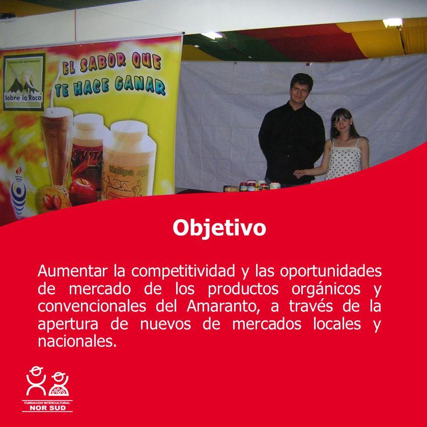 Con la cooperación de: Objetivo Aumentar la competitividad y las oportunidades de mercado de los productos orgánicos y convencionales del Amaranto, a
