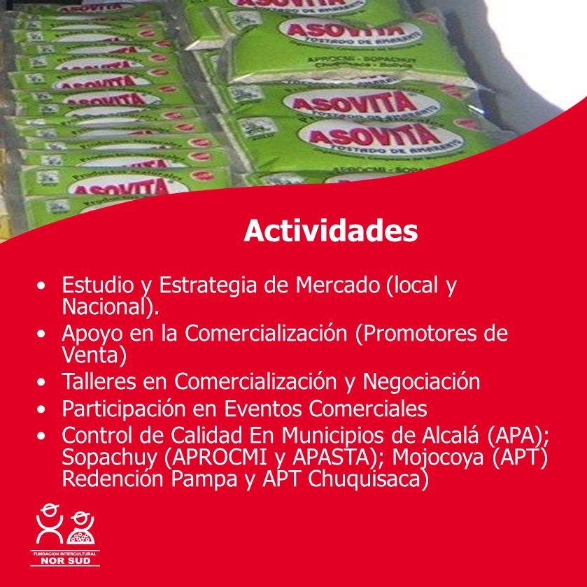 Con la cooperación de: Actividades Estudio y Estrategia de Mercado (local y Nacional). Apoyo en la Comercialización (Promotores de Venta) Talleres en