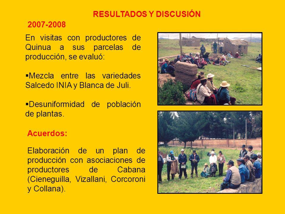 RESULTADOS Y DISCUSIÓN En visitas con productores de Quinua a sus parcelas de producción, se evaluó: Mezcla entre las variedades Salcedo INIA y Blanca