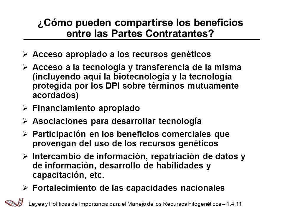 ¿Cómo pueden compartirse los beneficios entre las Partes Contratantes? Acceso apropiado a los recursos genéticos Acceso a la tecnología y transferenci
