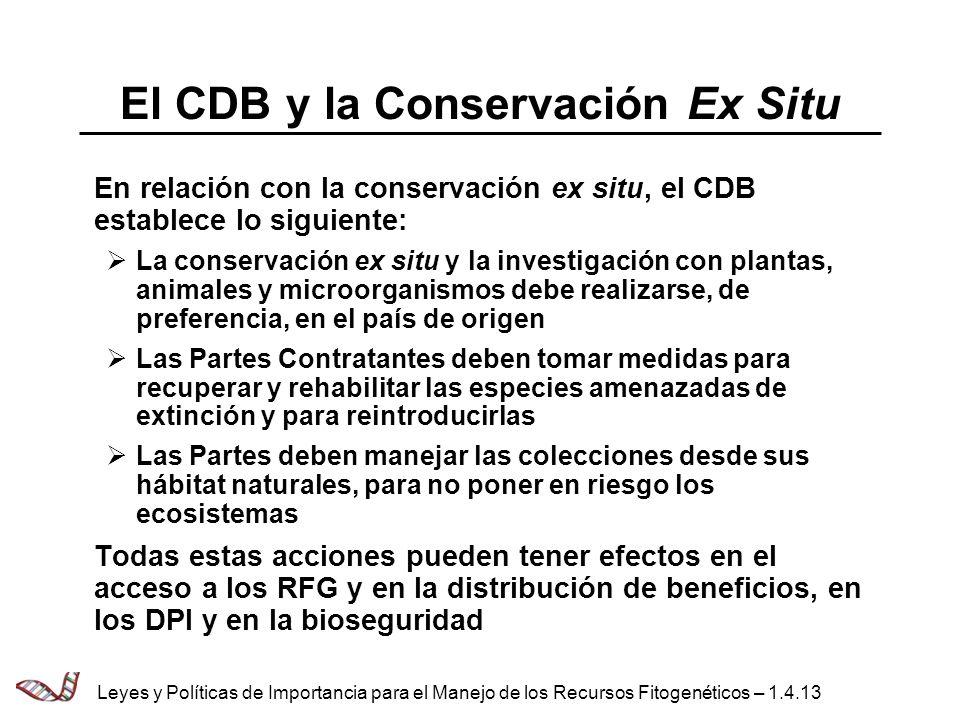 El CDB y la Conservación Ex Situ En relación con la conservación ex situ, el CDB establece lo siguiente: La conservación ex situ y la investigación co