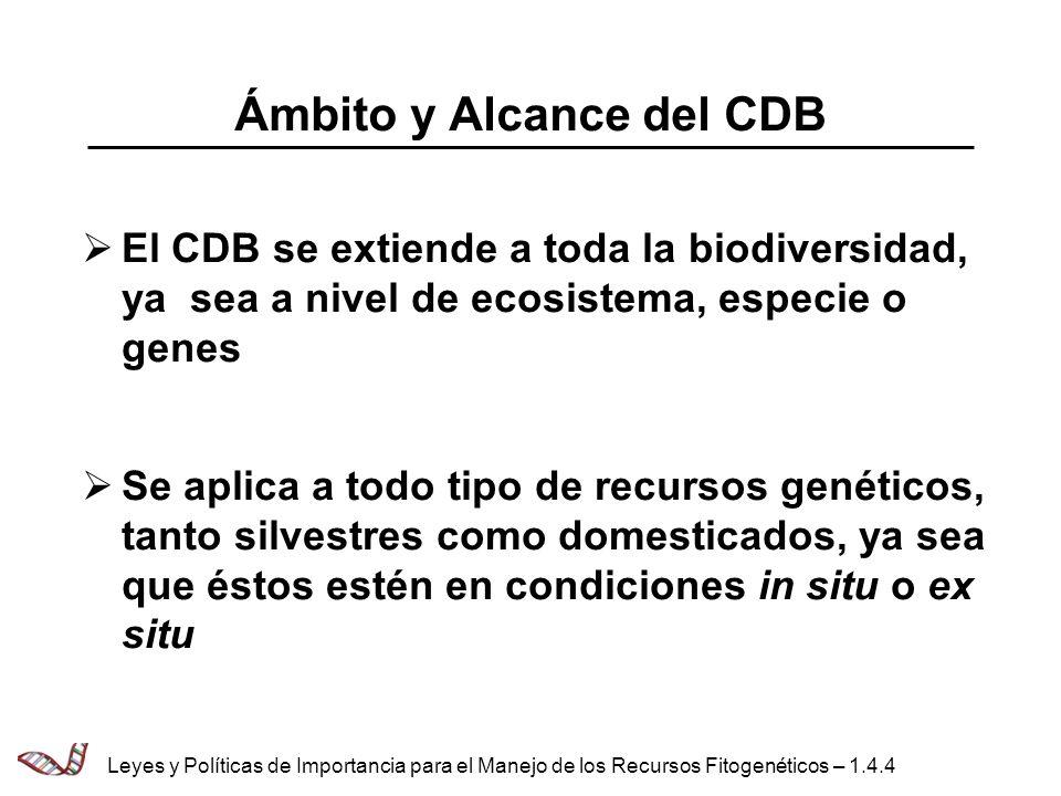Ámbito y Alcance del CDB El CDB se extiende a toda la biodiversidad, ya sea a nivel de ecosistema, especie o genes Se aplica a todo tipo de recursos g