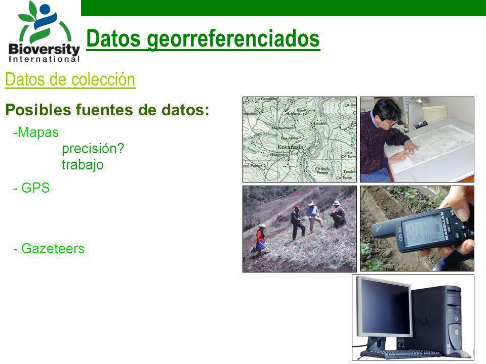 Datos georreferenciados Datos de colección Posibles fuentes de datos: -Mapas precisión? trabajo - GPS - Gazeteers