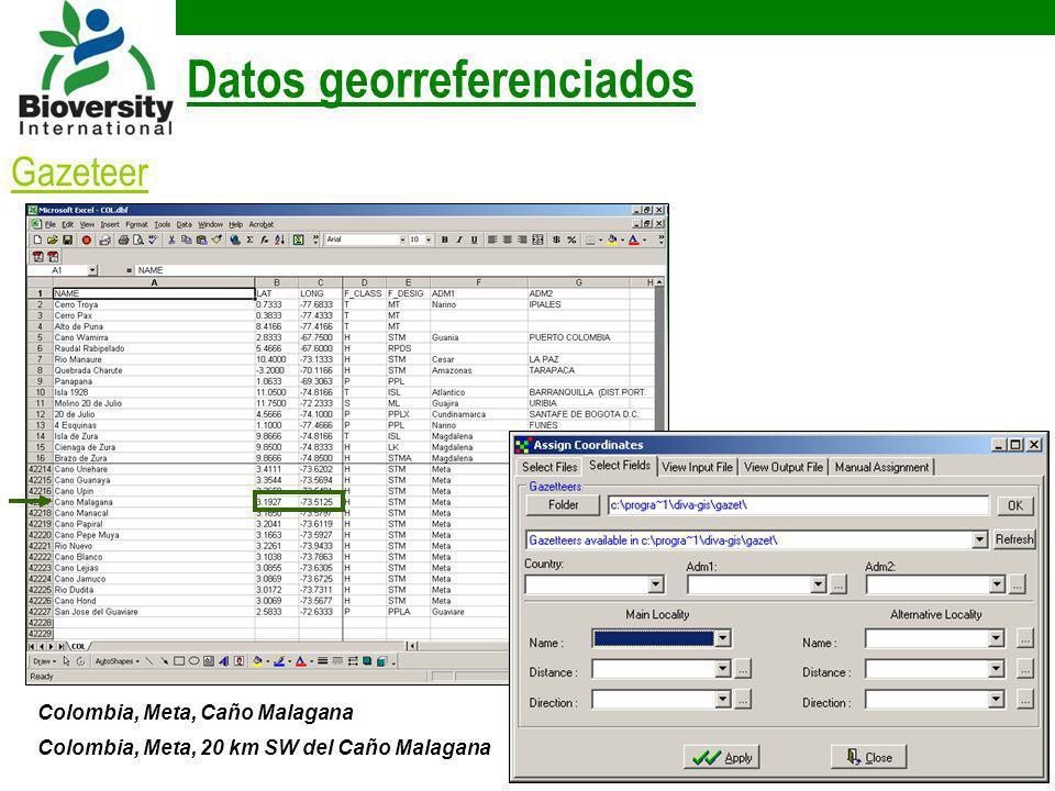 Datos georreferenciados Colombia, Meta, Caño Malagana Colombia, Meta, 20 km SW del Caño Malagana Gazeteer