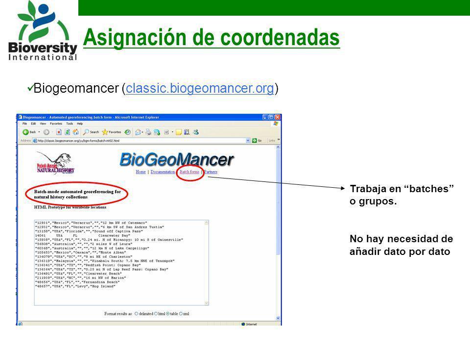 Asignación de coordenadas Biogeomancer (classic.biogeomancer.org) Trabaja en batches o grupos. No hay necesidad de añadir dato por dato