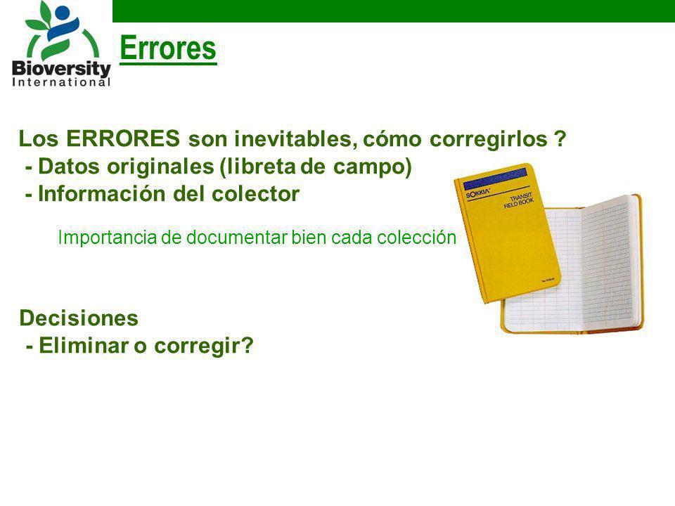 Errores Los ERRORES son inevitables, cómo corregirlos ? - Datos originales (libreta de campo) - Información del colector Importancia de documentar bie