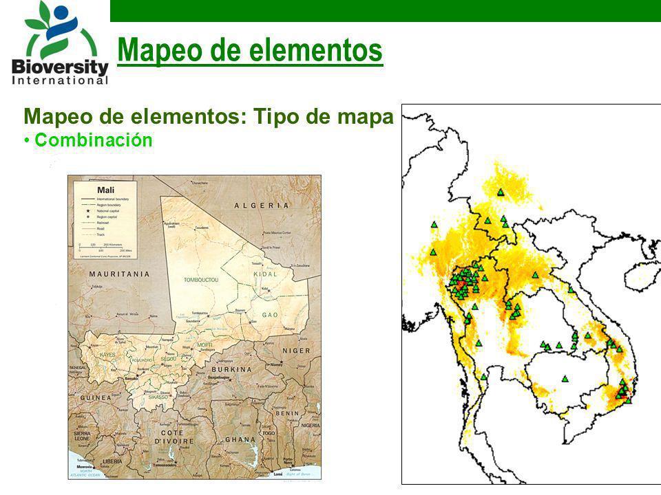 Mapeo de elementos Mapeo de elementos: Tipo de mapa Combinación