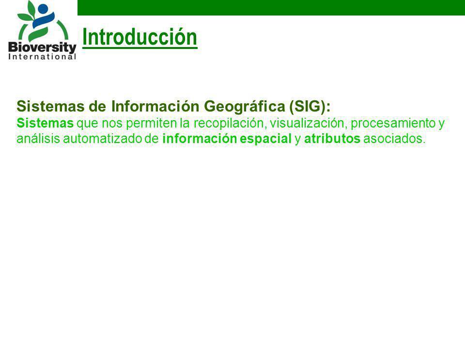 Introducción Sistemas de Información Geográfica (SIG): Sistemas que nos permiten la recopilación, visualización, procesamiento y análisis automatizado