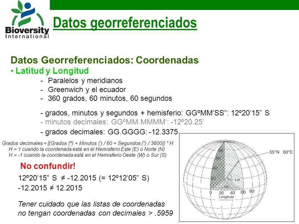 Datos Georreferenciados: Coordenadas Latitud y Longitud -Paralelos y meridianos -Greenwich y el ecuador -360 grados, 60 minutos, 60 segundos Datos geo