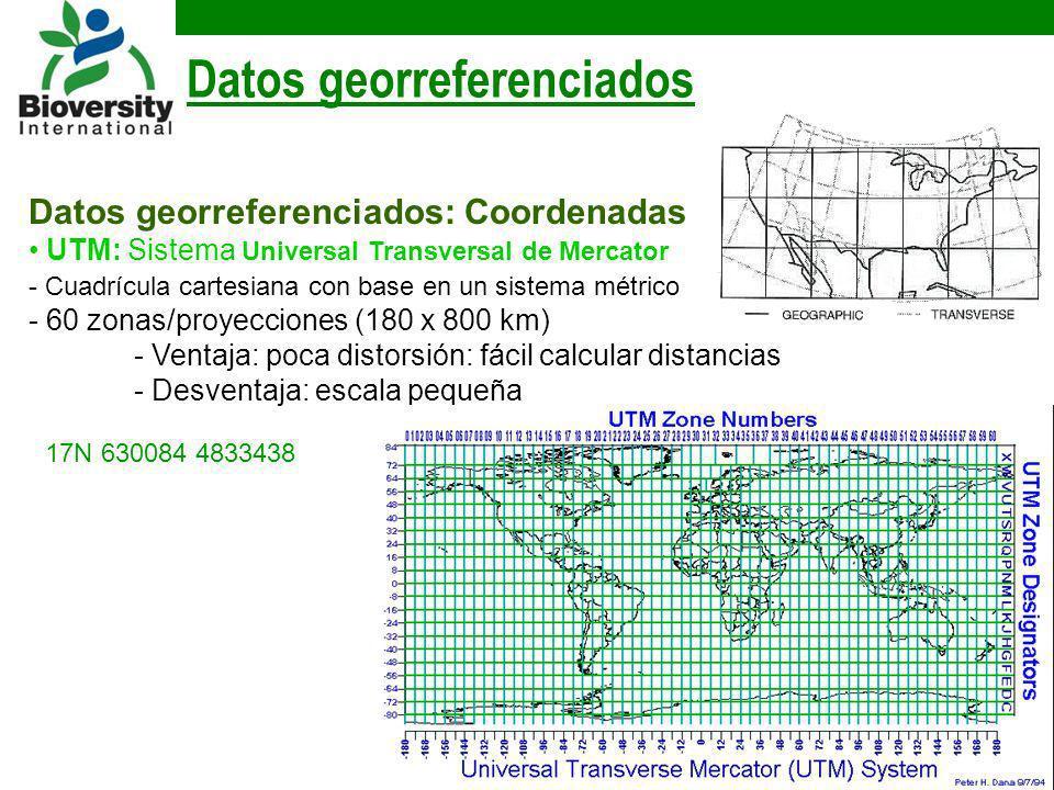 Datos georreferenciados: Coordenadas UTM: Sistema Universal Transversal de Mercator - Cuadrícula cartesiana con base en un sistema métrico - 60 zonas/
