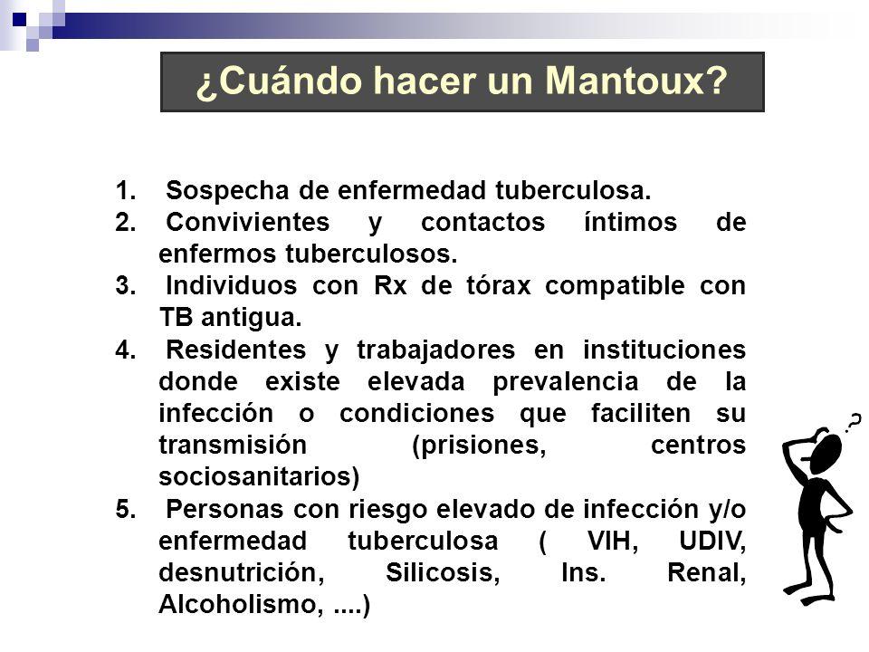 1. Sospecha de enfermedad tuberculosa. 2. Convivientes y contactos íntimos de enfermos tuberculosos. 3. Individuos con Rx de tórax compatible con TB a