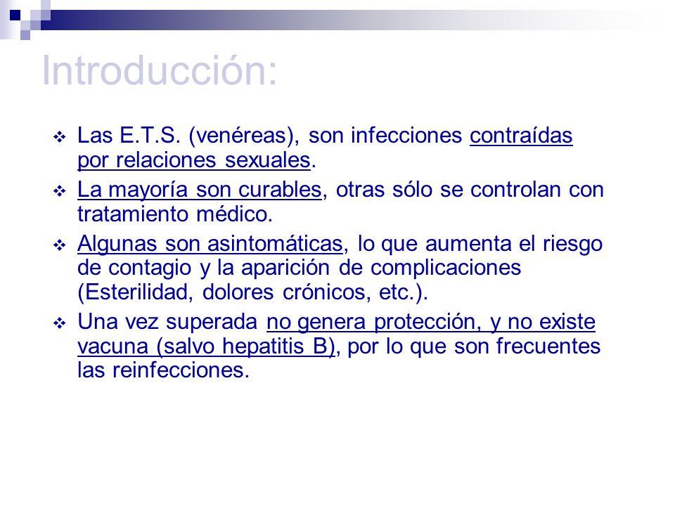 Introducción: Las E.T.S. (venéreas), son infecciones contraídas por relaciones sexuales. La mayoría son curables, otras sólo se controlan con tratamie