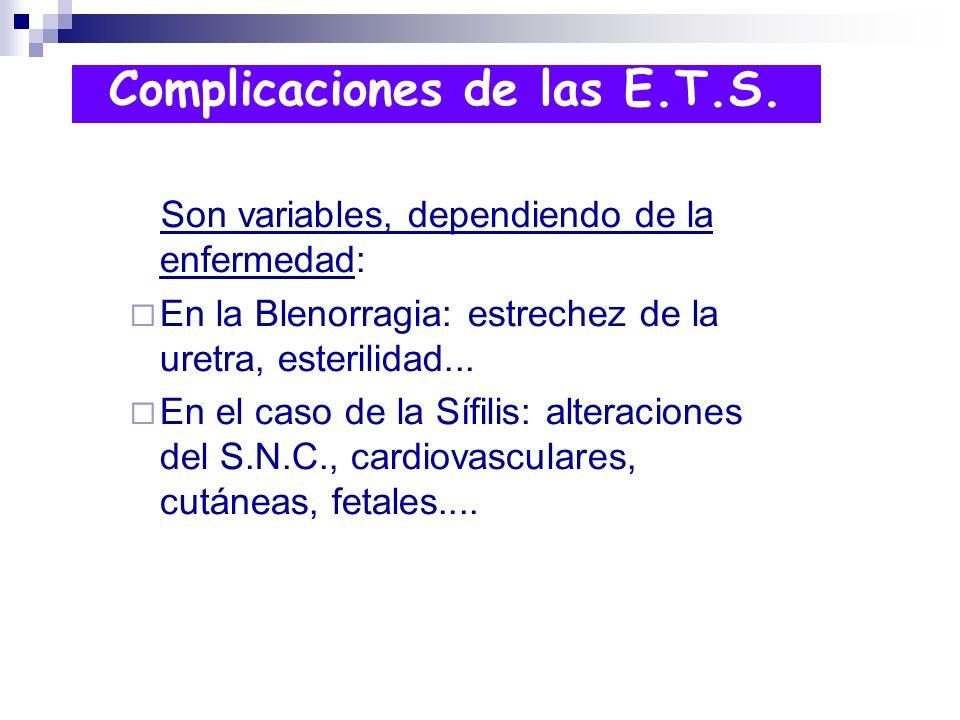 Son variables, dependiendo de la enfermedad: En la Blenorragia: estrechez de la uretra, esterilidad... En el caso de la Sífilis: alteraciones del S.N.