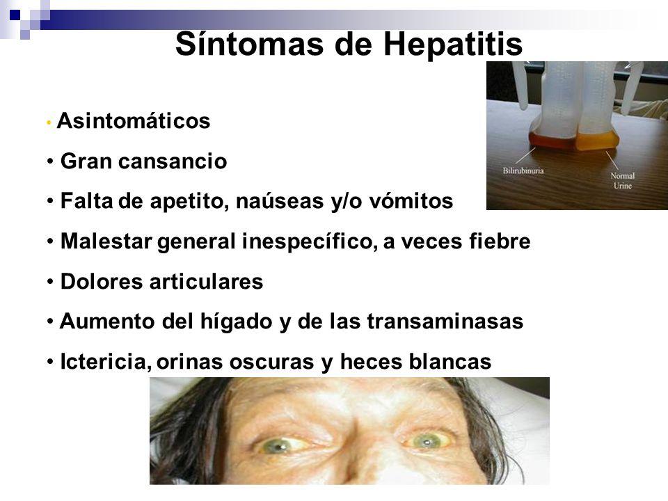 Síntomas de Hepatitis Asintomáticos Gran cansancio Falta de apetito, naúseas y/o vómitos Malestar general inespecífico, a veces fiebre Dolores articul