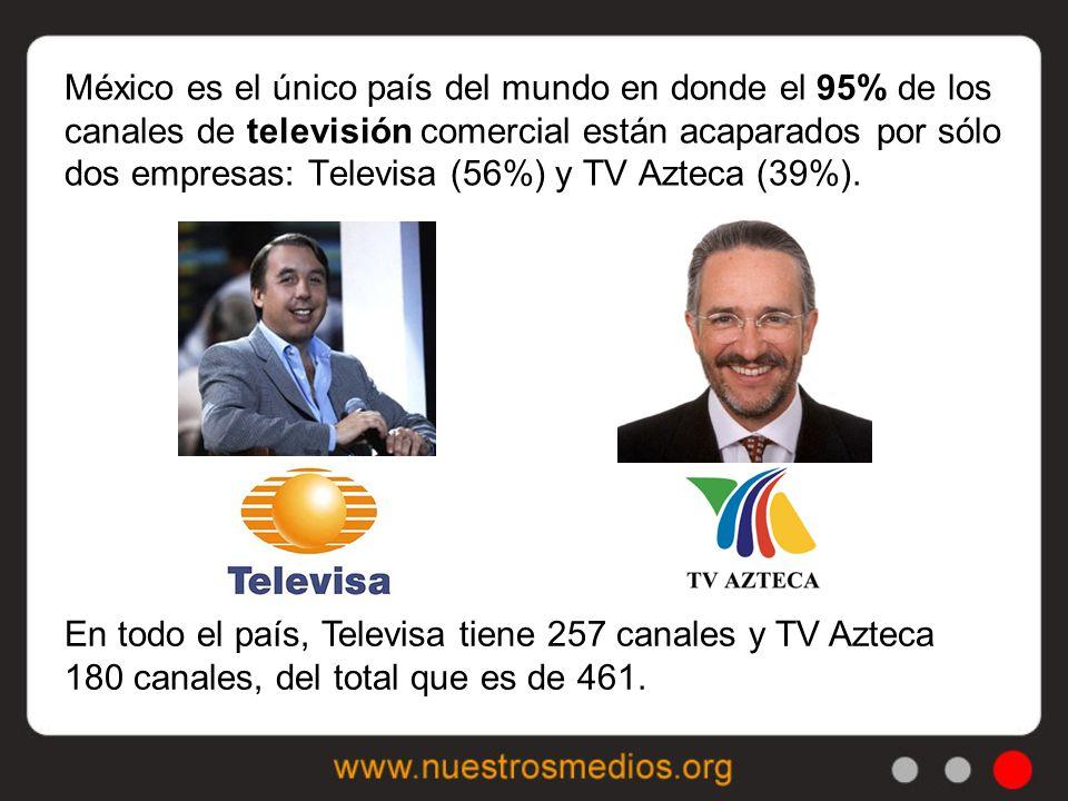 En todo el país, Televisa tiene 257 canales y TV Azteca 180 canales, del total que es de 461.