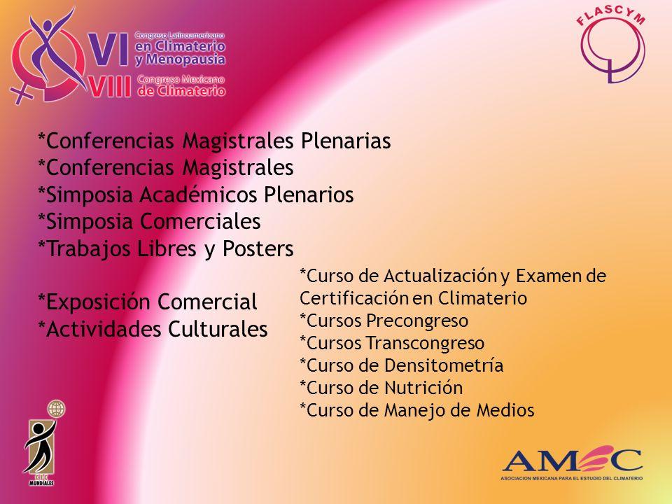 *Conferencias Magistrales Plenarias *Conferencias Magistrales *Simposia Académicos Plenarios *Simposia Comerciales *Trabajos Libres y Posters *Exposic