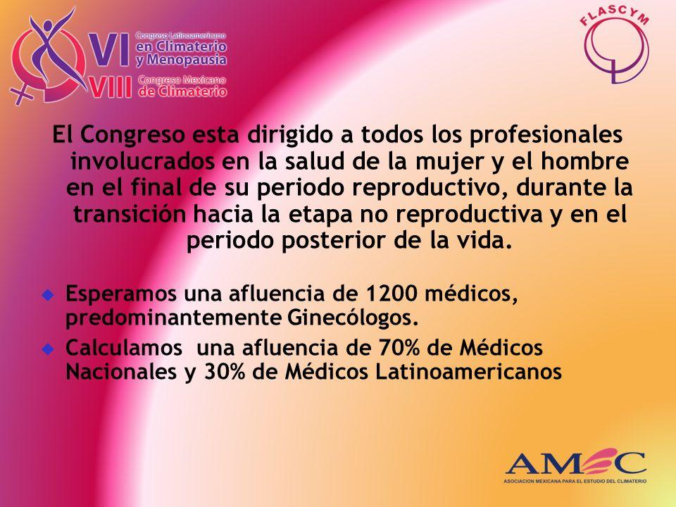 El Congreso esta dirigido a todos los profesionales involucrados en la salud de la mujer y el hombre en el final de su periodo reproductivo, durante l