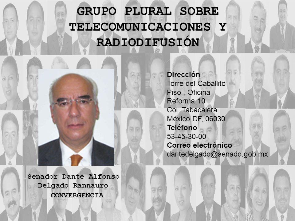 Dirección Torre del Caballito Piso, Oficina Reforma 10 Col. Tabacalera México DF, 06030 Teléfono 53-45-30-00 Correo electrónico dantedelgado@senado.go
