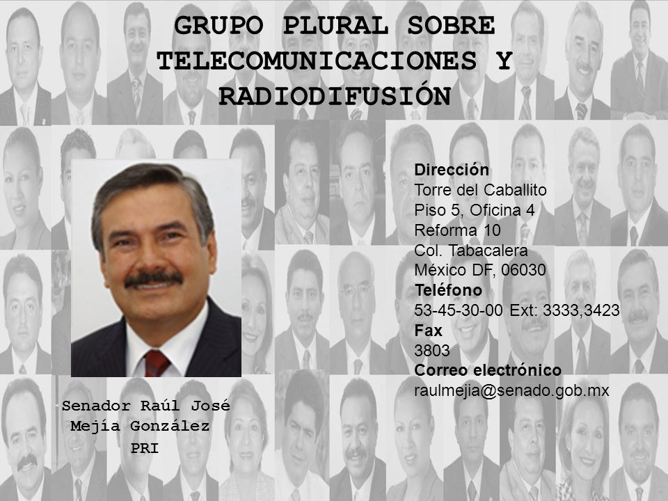 Dirección Torre del Caballito Piso 5, Oficina 4 Reforma 10 Col. Tabacalera México DF, 06030 Teléfono 53-45-30-00 Ext: 3333,3423 Fax 3803 Correo electr