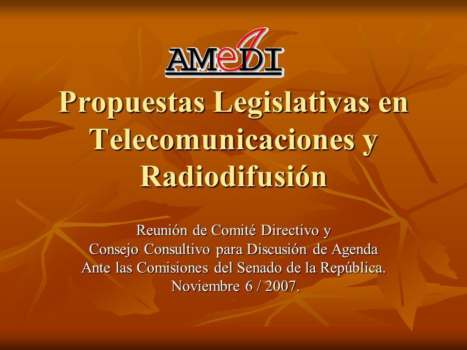 Propuestas Legislativas en Telecomunicaciones y Radiodifusión Reunión de Comité Directivo y Consejo Consultivo para Discusión de Agenda Ante las Comisiones del Senado de la República.
