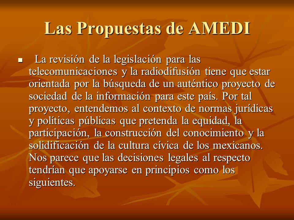 Las Propuestas de AMEDI La revisión de la legislación para las telecomunicaciones y la radiodifusión tiene que estar orientada por la búsqueda de un auténtico proyecto de sociedad de la información para este país.