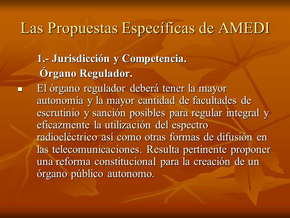 Las Propuestas Específicas de AMEDI 1.- Jurisdicción y Competencia.