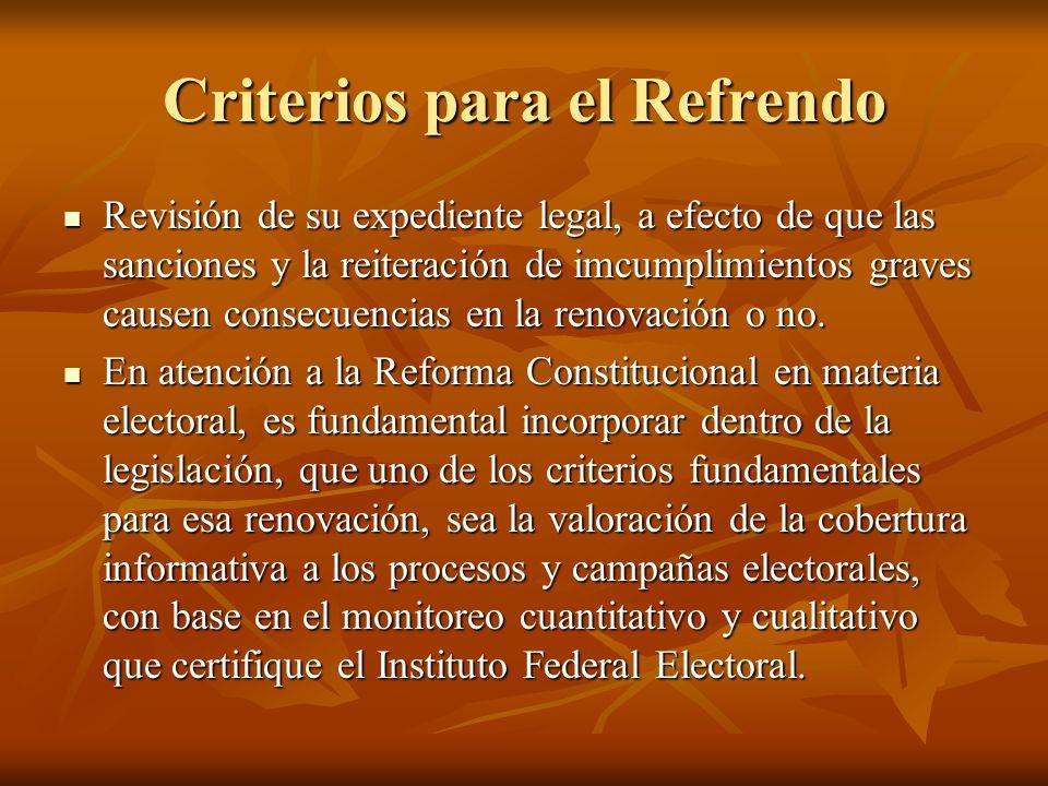 Criterios para el Refrendo Revisión de su expediente legal, a efecto de que las sanciones y la reiteración de imcumplimientos graves causen consecuencias en la renovación o no.