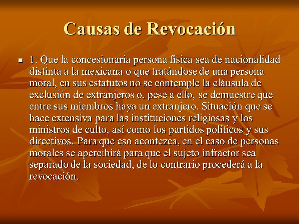 Causas de Revocación 1.