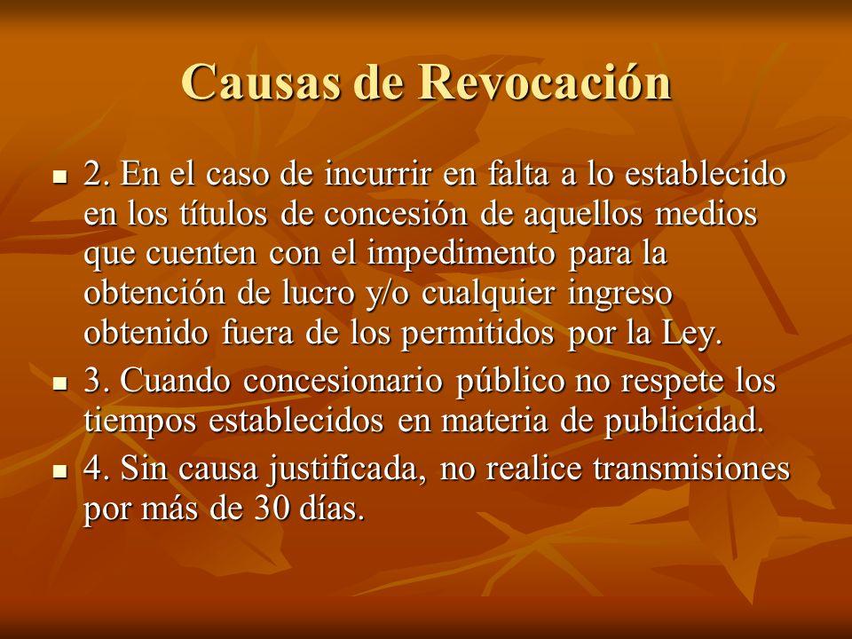 Causas de Revocación 2.