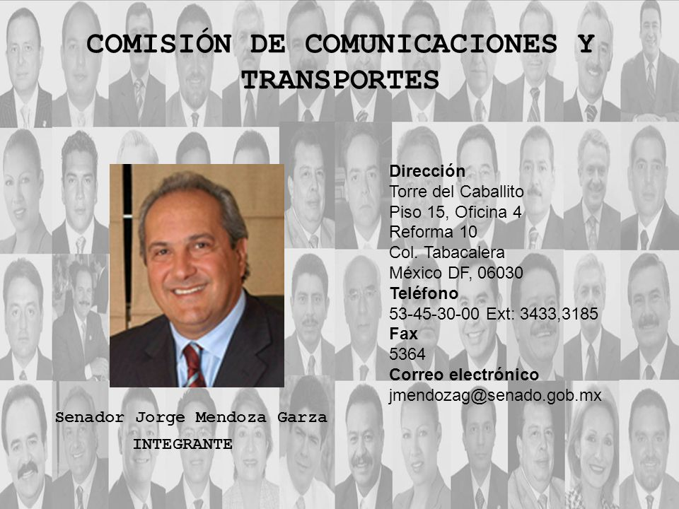Dirección Torre del Caballito Piso 15, Oficina 4 Reforma 10 Col. Tabacalera México DF, 06030 Teléfono 53-45-30-00 Ext: 3433,3185 Fax 5364 Correo elect