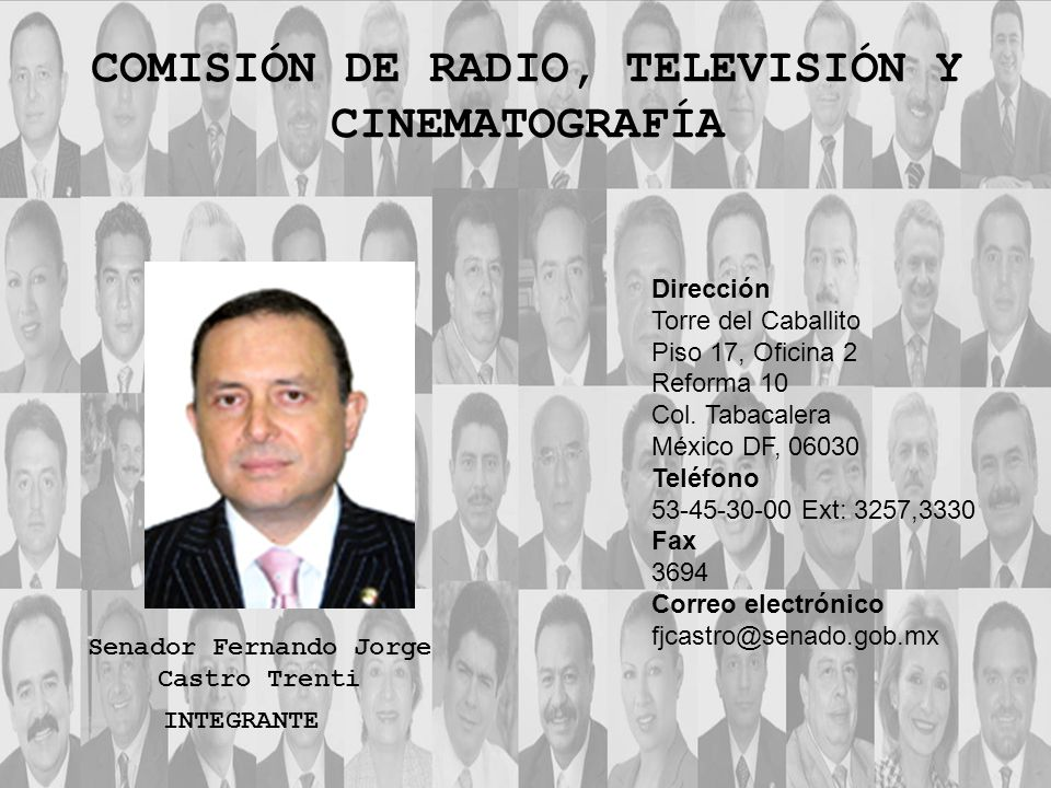 Dirección Torre del Caballito Piso 17, Oficina 2 Reforma 10 Col. Tabacalera México DF, 06030 Teléfono 53-45-30-00 Ext: 3257,3330 Fax 3694 Correo elect