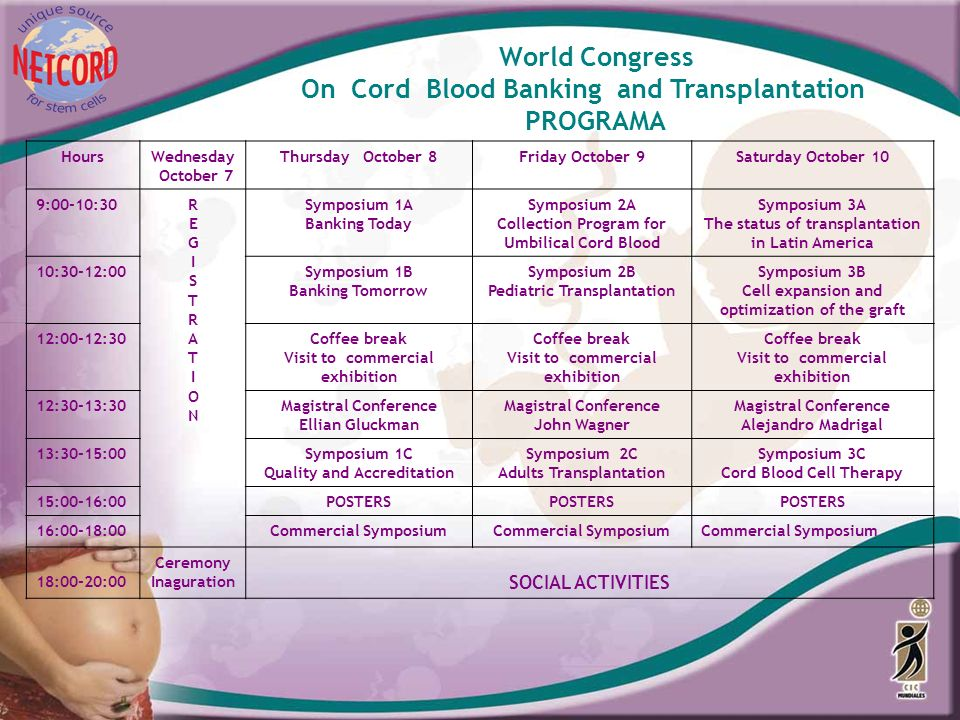 World Congress On Cord Blood Banking and Transplantation PROGRAMA HoursWednesday October 7 Thursday October 8Friday October 9Saturday October 10 9:00-