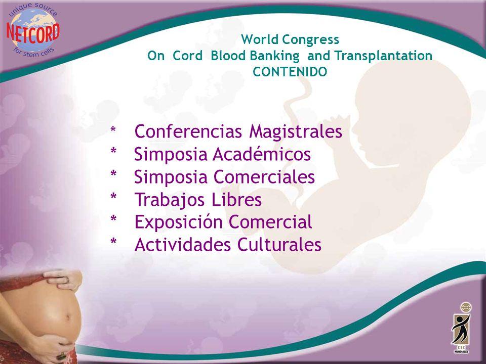 * Conferencias Magistrales * Simposia Académicos * Simposia Comerciales *Trabajos Libres *Exposición Comercial *Actividades Culturales World Congress