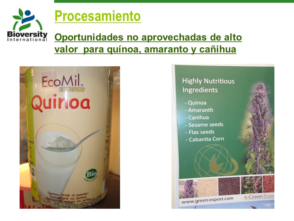 Oportunidades no aprovechadas de alto valor para quínoa, amaranto y cañihua Procesamiento