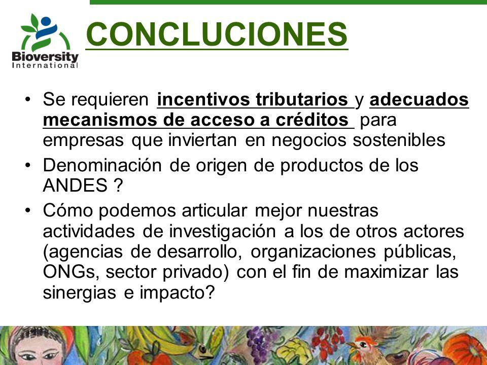 CONCLUCIONES Se requieren incentivos tributarios y adecuados mecanismos de acceso a créditos para empresas que inviertan en negocios sostenibles Denom