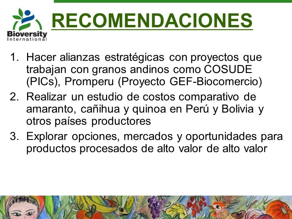 RECOMENDACIONES 1.Hacer alianzas estratégicas con proyectos que trabajan con granos andinos como COSUDE (PICs), Promperu (Proyecto GEF-Biocomercio) 2.