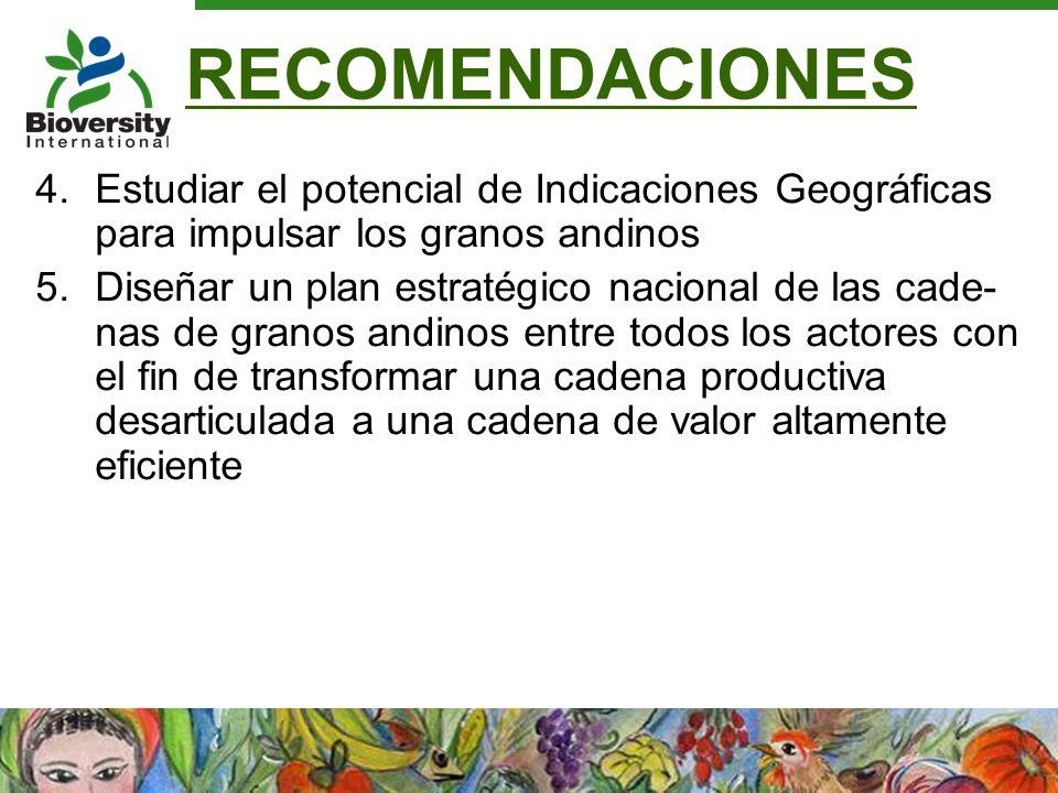 RECOMENDACIONES 4.Estudiar el potencial de Indicaciones Geográficas para impulsar los granos andinos 5.Diseñar un plan estratégico nacional de las cad