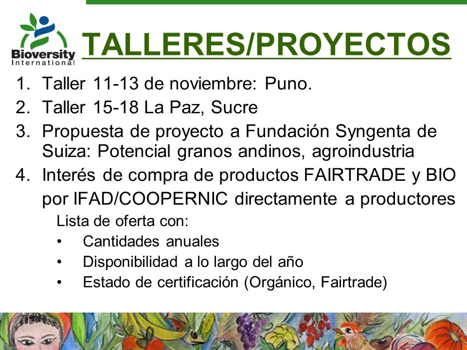 TALLERES/PROYECTOS 1.Taller 11-13 de noviembre: Puno. 2.Taller 15-18 La Paz, Sucre 3.Propuesta de proyecto a Fundación Syngenta de Suiza: Potencial gr
