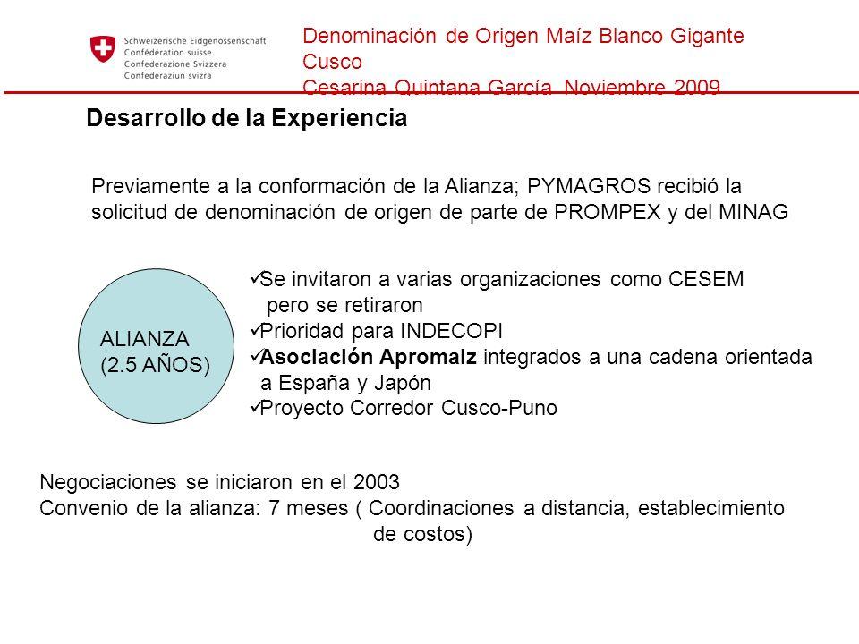 Denominación de Origen Maíz Blanco Gigante Cusco Cesarina Quintana García Noviembre 2009 Desarrollo de la Experiencia Previamente a la conformación de