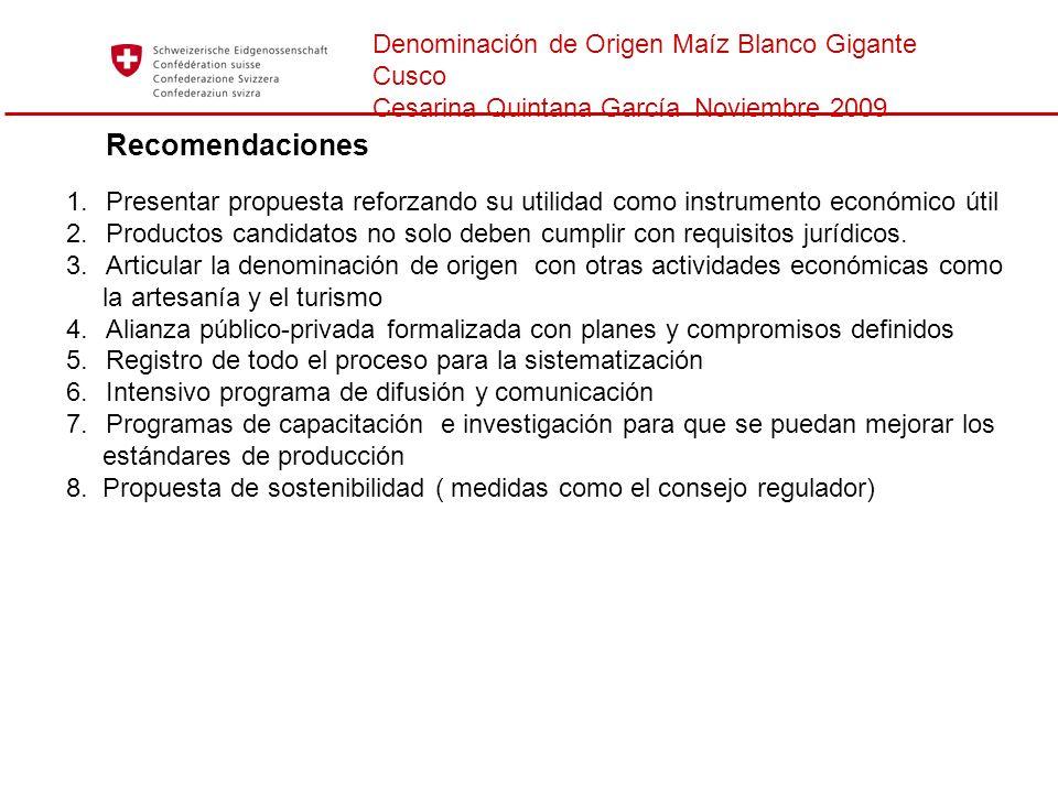 Denominación de Origen Maíz Blanco Gigante Cusco Cesarina Quintana García Noviembre 2009 Recomendaciones 1.Presentar propuesta reforzando su utilidad