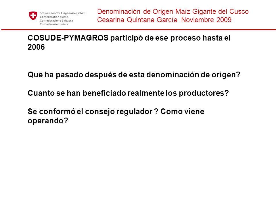 Denominación de Origen Maíz Gigante del Cusco Cesarina Quintana García Noviembre 2009 COSUDE-PYMAGROS participó de ese proceso hasta el 2006 Que ha pa