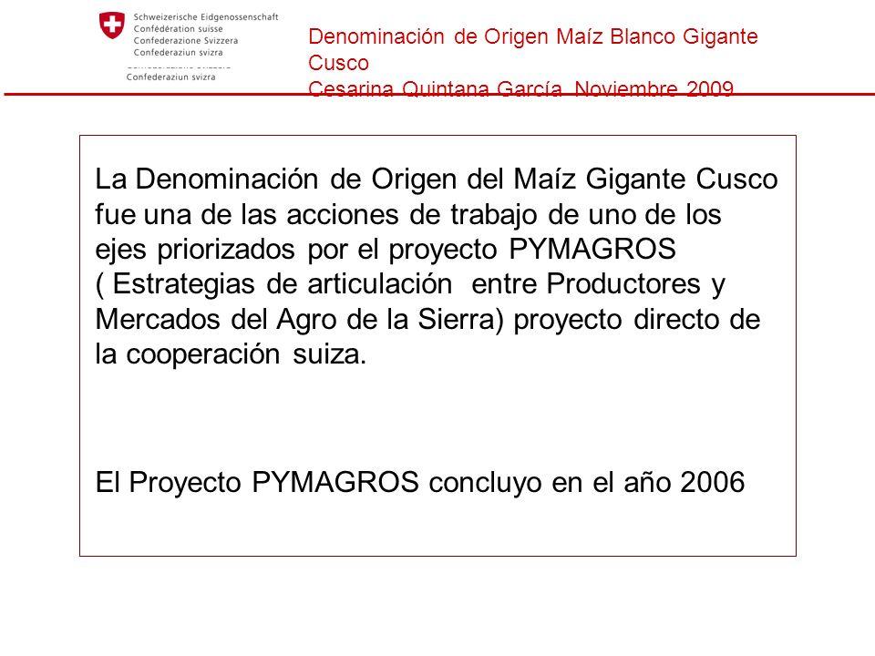 Denominación de Origen Maíz Blanco Gigante Cusco Cesarina Quintana García Noviembre 2009 La Denominación de Origen del Maíz Gigante Cusco fue una de l