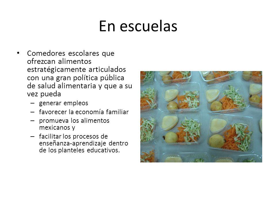 En escuelas Comedores escolares que ofrezcan alimentos estratégicamente articulados con una gran política pública de salud alimentaria y que a su vez