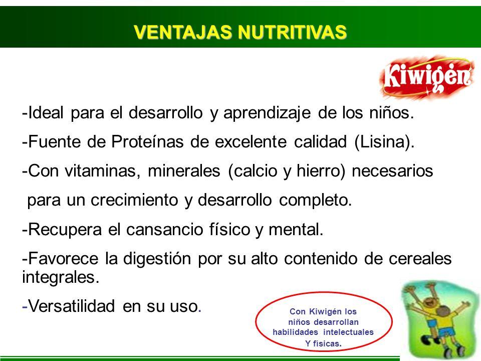 -Ideal para el desarrollo y aprendizaje de los niños. -Fuente de Proteínas de excelente calidad (Lisina). -Con vitaminas, minerales (calcio y hierro)