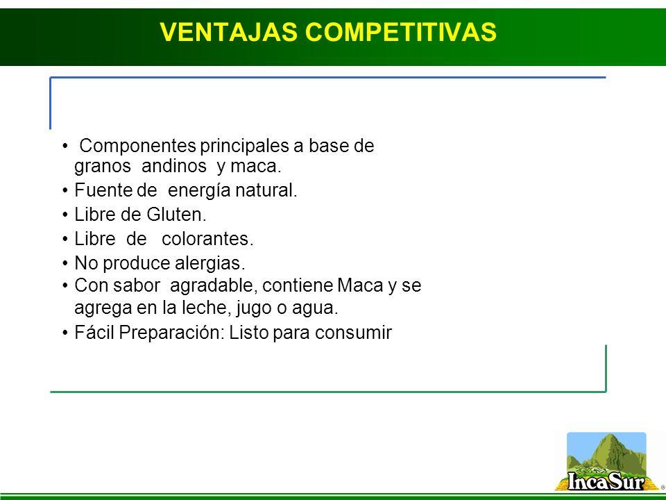 VENTAJAS COMPETITIVAS Componentes principales a base de granos andinos y maca. Fuente de energía natural. Libre de Gluten. Libre de colorantes. No pro