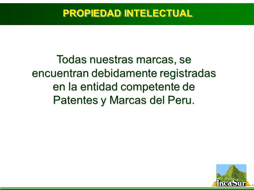 PROPIEDAD INTELECTUAL Todas nuestras marcas, se encuentran debidamente registradas en la entidad competente de Patentes y Marcas del Peru.