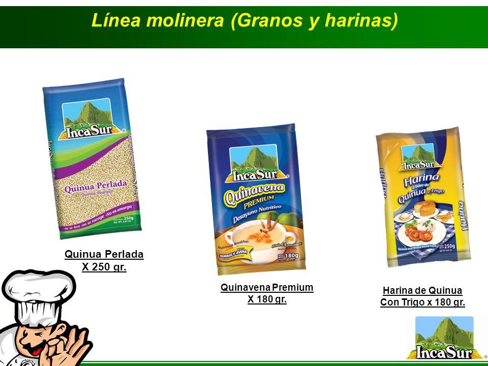 Línea molinera (Granos y harinas) Quinua Perlada X 250 gr. Quinavena Premium X 180 gr. Harina de Quinua Con Trigo x 180 gr.