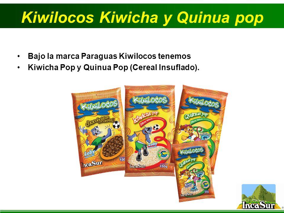 Kiwilocos Kiwicha y Quinua pop Bajo la marca Paraguas Kiwilocos tenemos Kiwicha Pop y Quinua Pop (Cereal Insuflado).