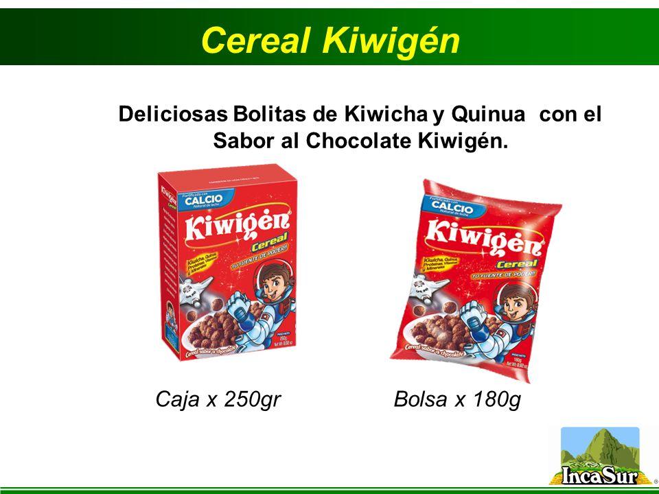 Cereal Kiwigén Caja x 250gr Deliciosas Bolitas de Kiwicha y Quinua con el Sabor al Chocolate Kiwigén. Bolsa x 180g