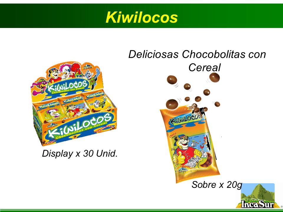 Kiwilocos Sobre x 20g Display x 30 Unid. Deliciosas Chocobolitas con Cereal